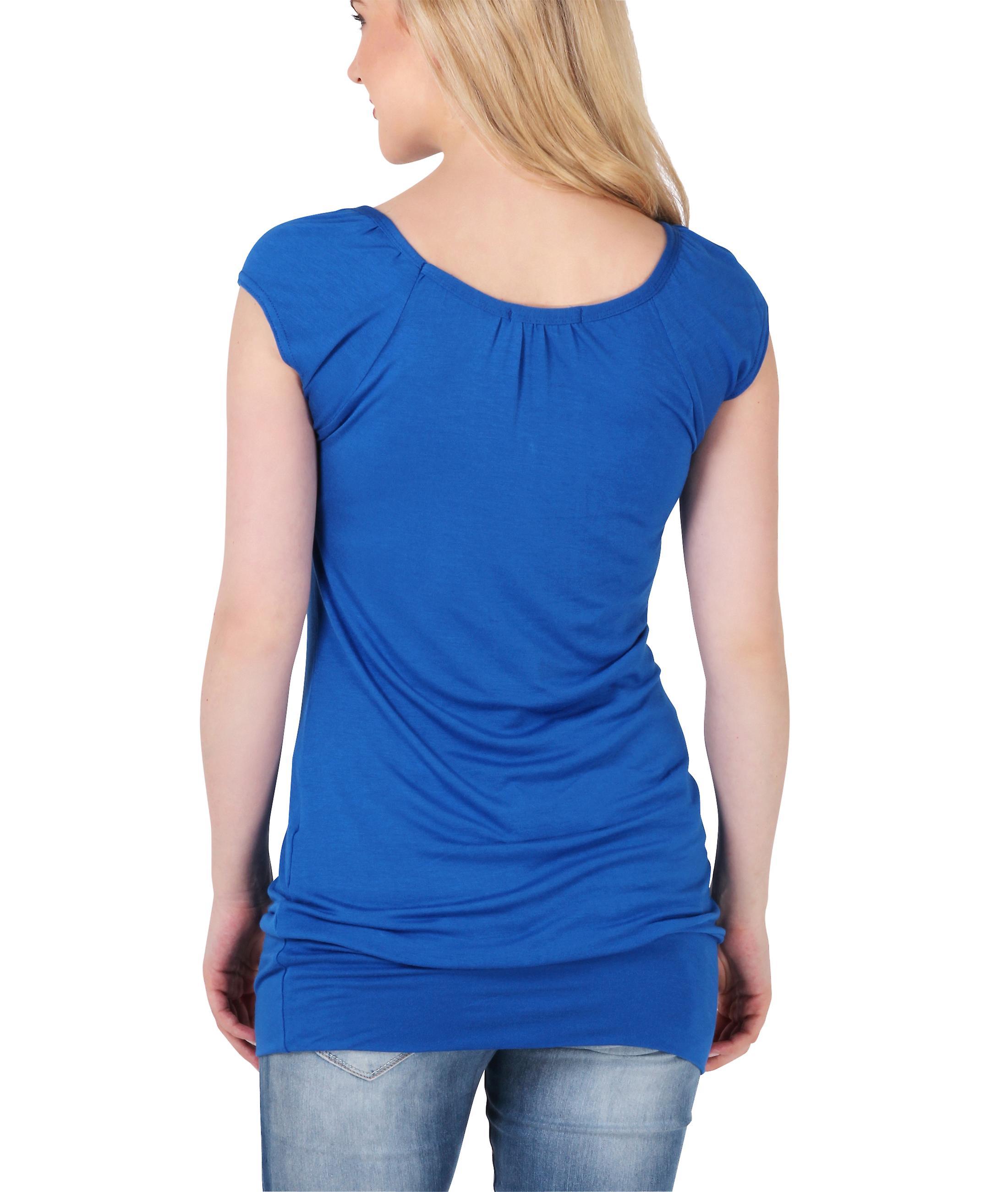 KRISP Cute Comfortable T-Shirt Long Design Short Sleeves Casual Top