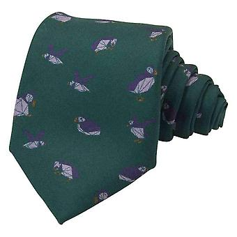 40 Colori Puffins Printed Silk Tie - Pine Green