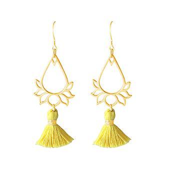 Gemshine - dames - oorringen - oorbellen - 925 zilveren - verguld kwast - goud - YOGA - 4,5 cm - Lotus bloem-