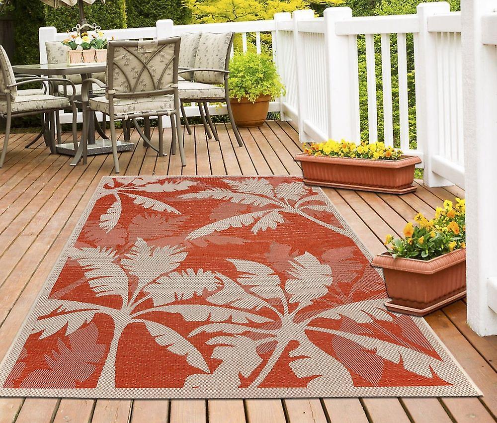 Outdoor-Teppich für Terrasse / Balkon Teppich Indoor / Outdoor - für drinnen und draussen Wohnzimmer Palme orange-natur 135 x 190 cm