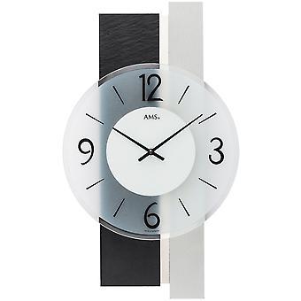 Настенные часы кварцевые аналоговые серебро современные 9555 AMS с сланца и стекла