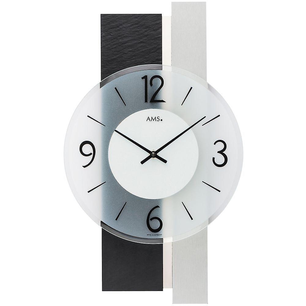 Ardoise 9555 Avec Ams Murale Verre Moderne Analogique Argent Et Quartz Horloge BoexCd