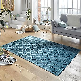 Design viscose rug Bryon relief look blue