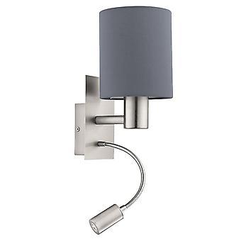 Eglo Pasteri comodino LED lampada da parete con paralume grigio