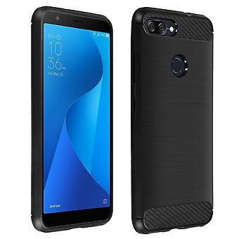 Koolstof geborsteld TPU Case, siliconen cover voor Asus Zenfone Max Plus M1 - zwart
