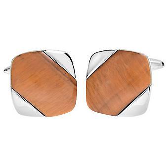 David Van Hagen Shiny Square Diagonal Tiger Eye Stripe Cufflinks - Brown/Silver