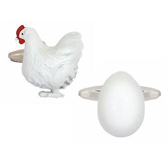 Zennor Chicken and Egg Cufflinks - White