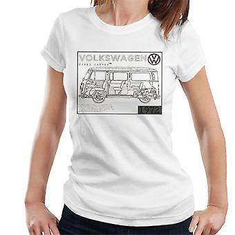 Official Volkswagen Type 2 Camper Plans Dark Text Women's T-Shirt