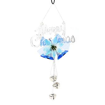 TRIXES Pretty Blue Merry Christmas Banner and Bells Hanging Decoration