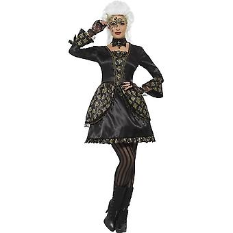 Smiffy's Deluxe Masquerade Costume, Black & Gold, With Dress