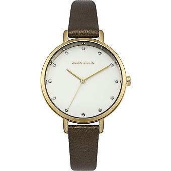 Karen Millen Womens dames bruin pols horloge KM157T