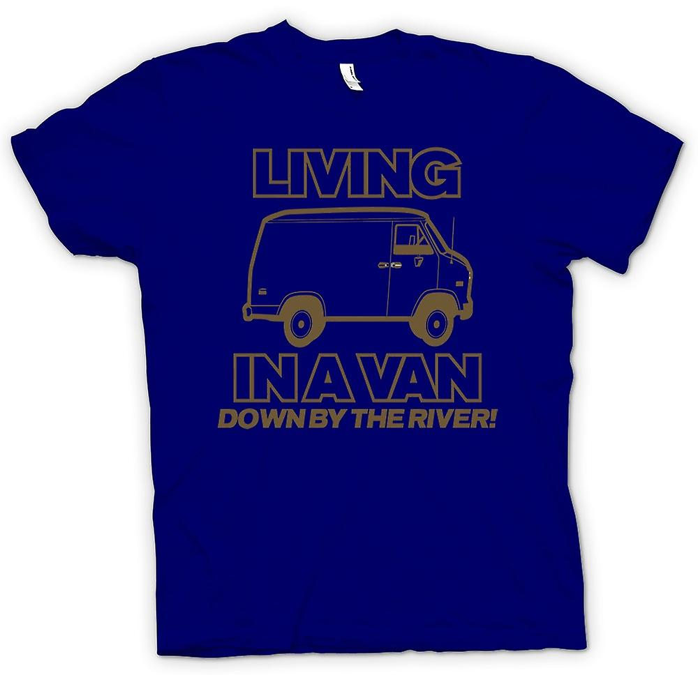Mens T-shirt - Living In A Van, Down By The River - Quote