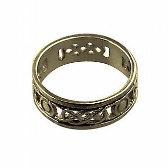 9ct oro 6mm anello di nozze celtico dimensione H