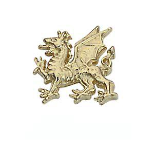 9ct Gold 11x11mm  Welsh Dragon Tie Tack