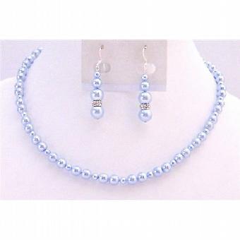 Lite Blue Pearls Bridal Jewelry Swarovski Flower Girl Wedding Gift