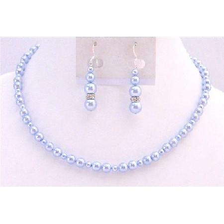 Lite Blue Pearls Bridal Jewelry Swarovski Flower Girl Wedding Gift