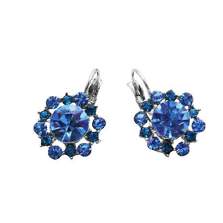 Aquamarine Crystals Sparkling Blue Earrings Exclusively Dress Earrings