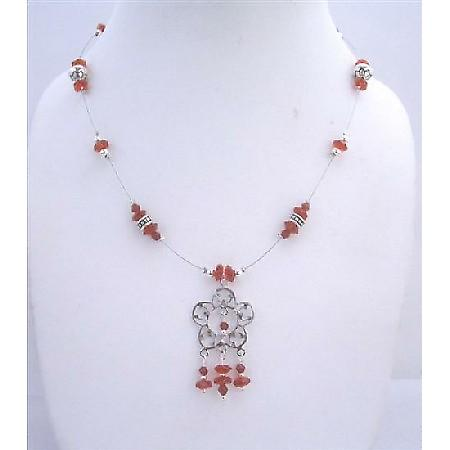 Silver Oxidized Flower Pendant Multifaceted Red Glass Beads Necklace