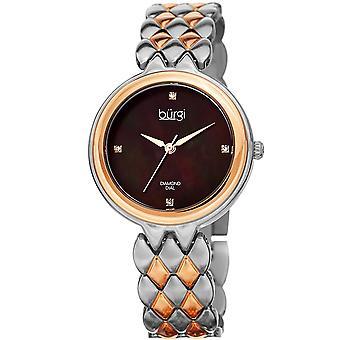 Burgi Women's BUR193 Diamond Mother of Pearl Dial Stainless Steel Bracelet  Watch  BUR193TTR