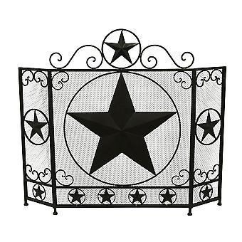 Rustykalny brąz Western Star 3 Panel metalowy kominek ekranu
