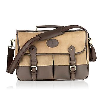 Beige Canvas and Brown Leather Satchel Briefcase 16.5