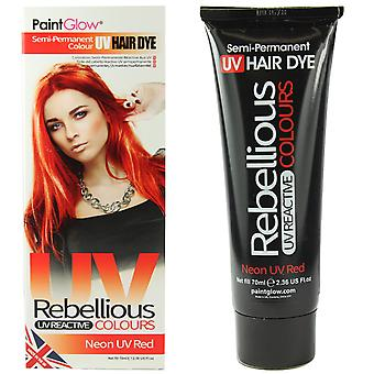 PaintGlow Semi Permanent Hair Dye Neon UV Red & FREE Gloves