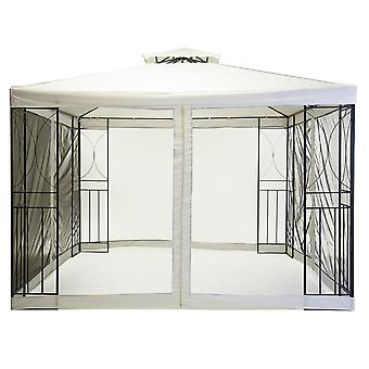 Charles Bentley 3m x 3m Steel Art Cream Gazebo Party Tent With Fly Screen