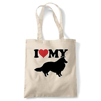 I Love My Sheltie Tote | Dog Gift Fur Baby Lover Owner Mans Best Friend | Reusable Shopping Cotton Canvas Long Handled Natural Shopper Eco-Friendly Fashion