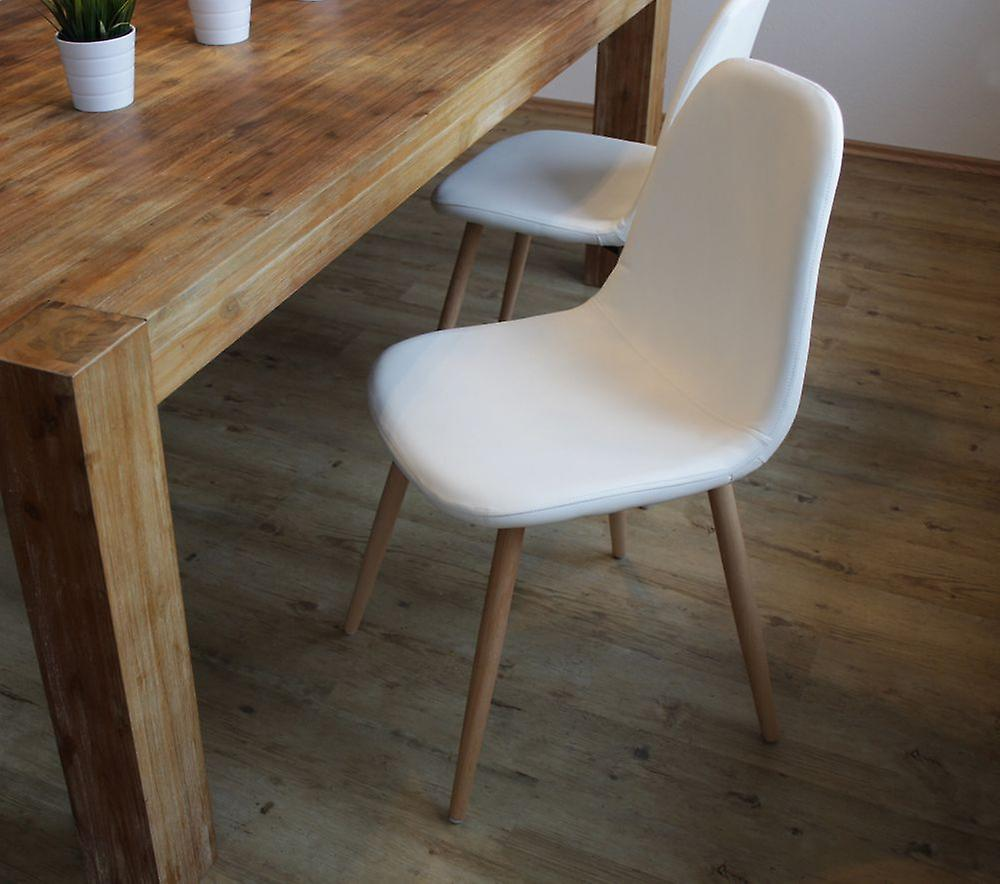 Dining room chair chair set of 4 Fynn white real wood legs from beech 10788