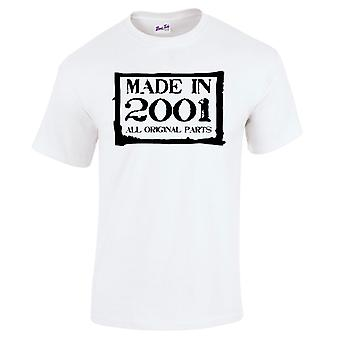 Men's 18th Birthday T-Shirt Made In 2001 Novelty Gifts For Him