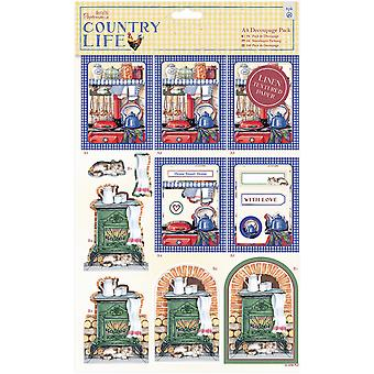 Papermania Country Life A4 Decoupage Pack-Country Kitchen, Linen Finish PM169138