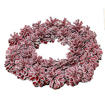 Red Waxed Pine Cone Christmas Wreath