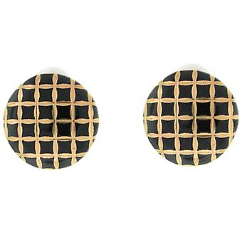 Clip On Earrings Store Black and Gold Checkered Leatherette Button Clip on Earrings