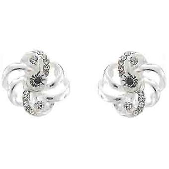 Clip On Earrings Store Silver & Clear Crystal Swirl Clip On Earrings