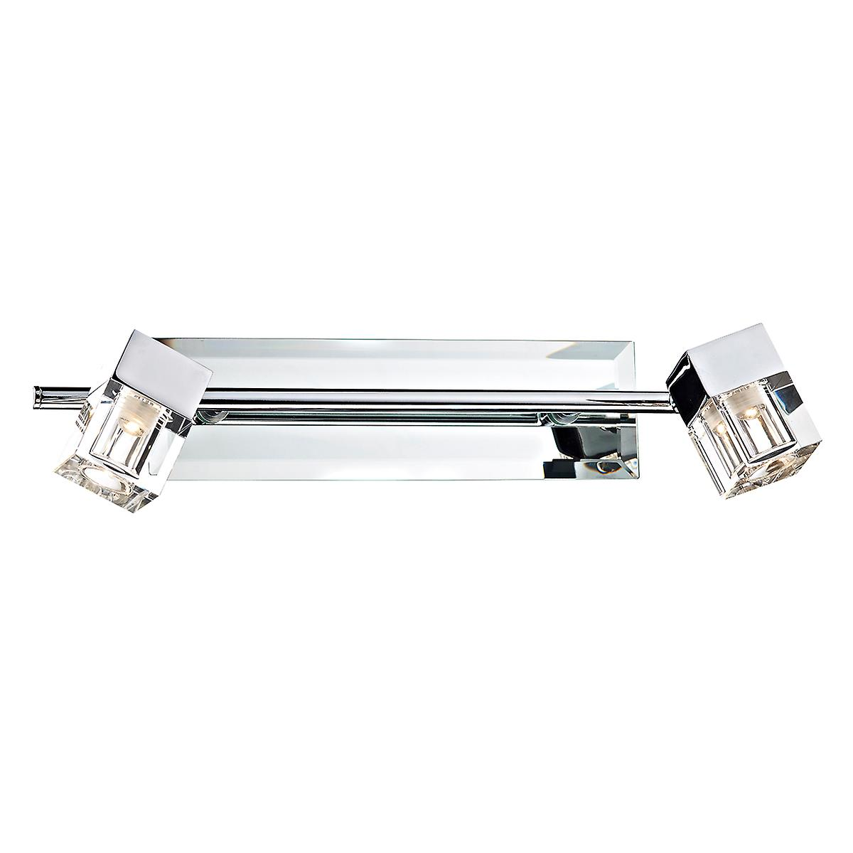 Dar LOG7750 Logic Contemporary Mirrored Bathroom Wall Light Switched