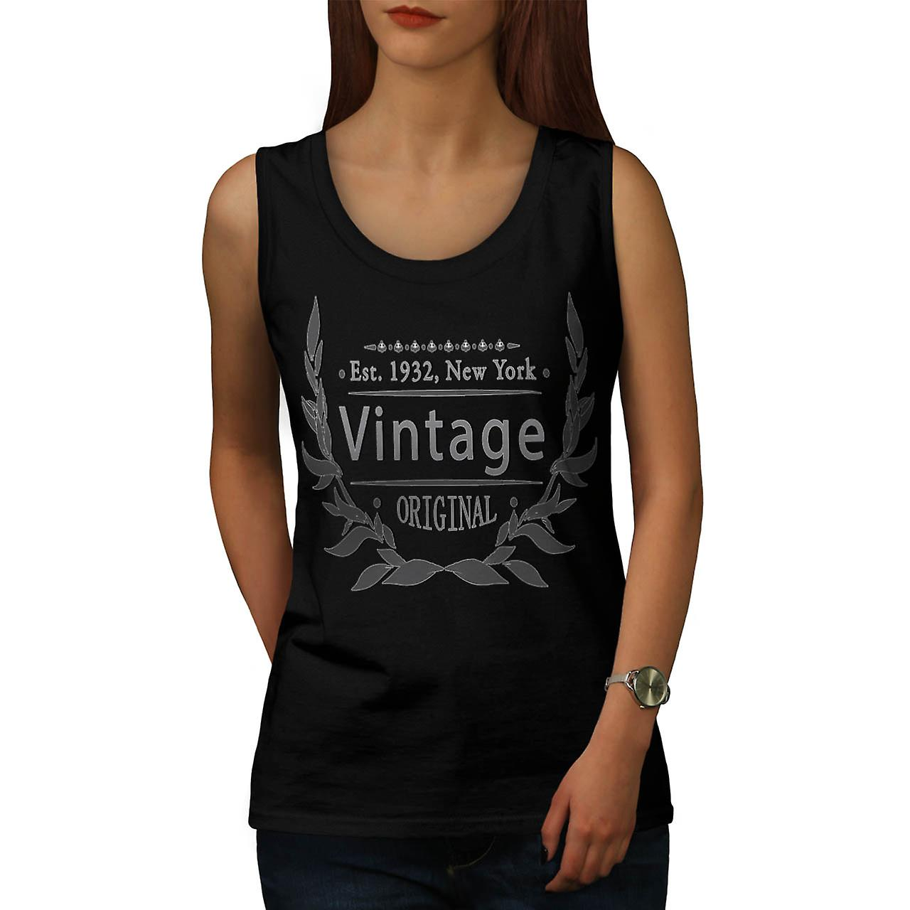 New York Vintage USA Original Women Black Tank Top | Wellcoda