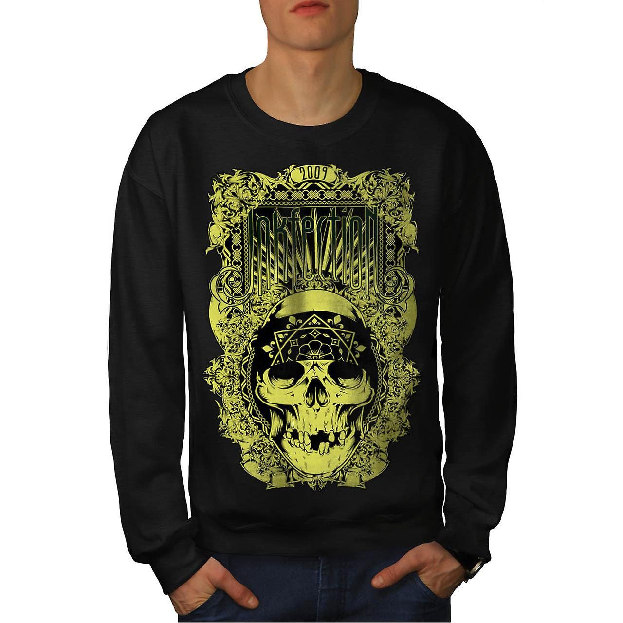 Inkfection Death Skull Men Black Sweatshirt | Wellcoda