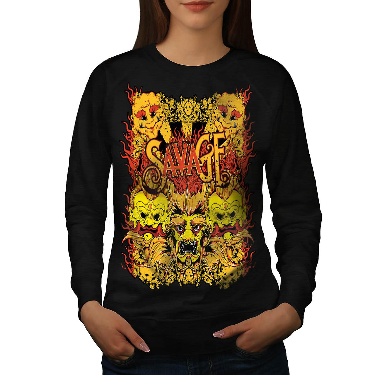 Savage Samurai Mask Asian Parade Women Black Sweatshirt | Wellcoda
