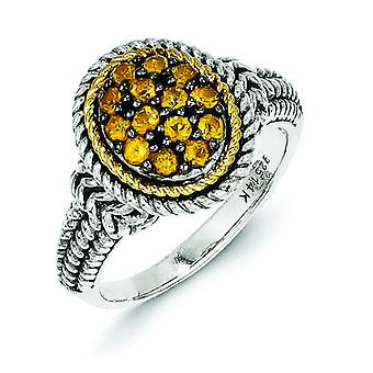 Sterling Silver With 14k Citrine Ring - Ring Size: 6 to 8