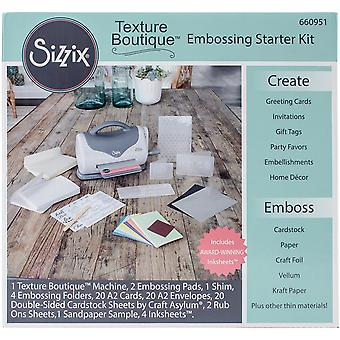 Sizzix Texture Boutique Embossing Starter Kit-Gray & White 660951