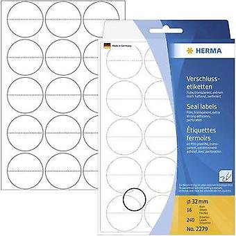 Herma 2279 Labels (hand writable) Ø 32 mm Film Transparent 240 pc(s) Permanent Sealing labels