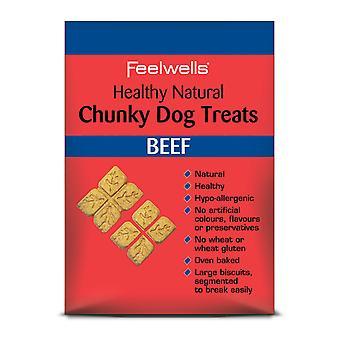 Feelwells sunde naturlige firskåren hund behandler oksekød 250g (pakke med 10)