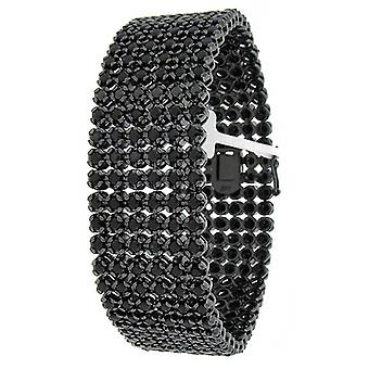 Iced Out Bling Platinum Armband - PRONG 6 ROW schwarz