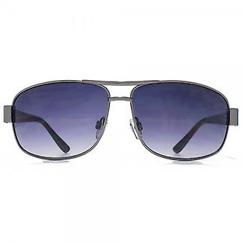 Glare Eyewear Channing Metal Square Sunglasses In Black
