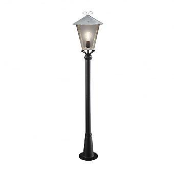 Konstsmide Benu galvanisé argenté lanterne et Post noir