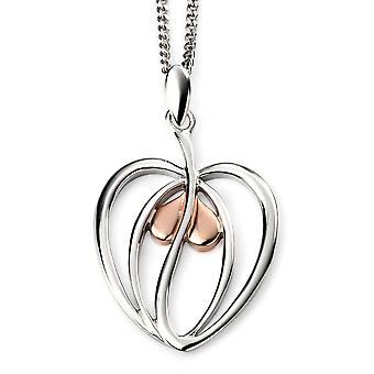 925 Silver Gold Plated Rhodium And Heart Necklace