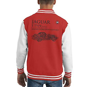 Haynes Workshop Manual 0140 Jaguar E Type 6 Cyl Black Kid's Varsity Jacket