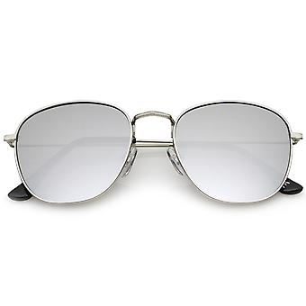 Klassieke metalen Frame Ultra slanke tempels gekleurde spiegel Lens Square zonnebril 53mm