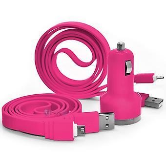 ONX3 HTC eine A9s Hot Pink Twin Port USB Mini Kugel In Kfz-Ladegerät-Adapter inkl. 2 Micro USB-Datenübertragung/Ladekabel