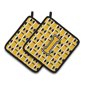 Letter I Football Black, Old Gold and White Pair of Pot Holders